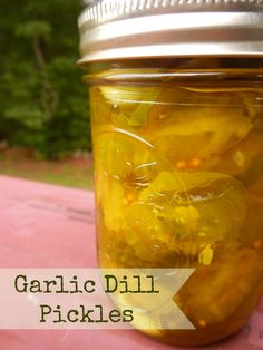 Garlic Dill Pickles!  The brine is fairly sweet, almost like a Bread and Butter, but I think the addition of the dill and garlic gave it an interesting twist.