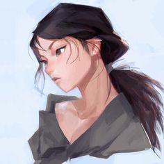 Painting of a cartoon female Asian character Drawn Art, 5 Anime, Character Design Inspiration, Anime Art Girl, Portrait Art, Aesthetic Art, Cartoon Art, Cute Drawings, Cute Art
