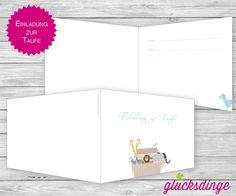 8 x ♥ TAUF-KLAPPEINLADUNG ♥ I Arche Azur + Umsc... von j-designerie - FEINE DRUCKSACHEN auf DaWanda.com