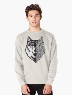 'Floral Wolf Design' T-Shirt by Rockyvillaruel Fantasy Wolf, Fantasy Art, Hybrid Wolf, Wolf Girl Tattoos, Javi Wolf, Wolf Drawings, Wolf Sketch, Alpha Wolf