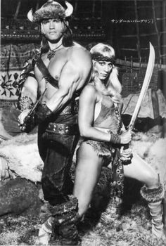A gallery of Conan The Barbarian publicity stills and other photos. Featuring Arnold Schwarzenegger, Sandahl Bergman, James Earl Jones, Gerry Lopez and others. Fantasy Films, Schwarzenegger, Sandahl Bergman, Movies, Red Sonja, Good Movies, Movie Stars, Barbarian, Sword And Sorcery