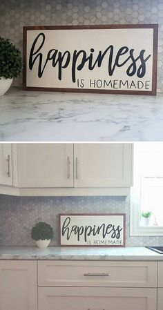Such a true statement! Happiness is Homemade wood sign family sign living room decor dining room home decor farmhouse sign farmhouse decor rustic sign rustic decor gift idea Diy Home Decor Rustic, Country Farmhouse Decor, Home Decor Signs, Diy Signs, Handmade Home Decor, Farmhouse Signs, Kitchen Decor Signs, Kitchen Sign Ideas, Wooden Signs For Kitchen