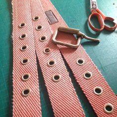 Work in progress. Belts of fire hose with leather lining
