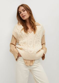 Mango Knitted Braided Gilet - Women | Mango Usa