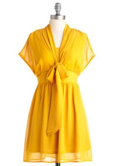 Tart and Soul Dress - Yellow, Solid, Bows, A-line, Cap Sleeves, Casual, Summer, Short