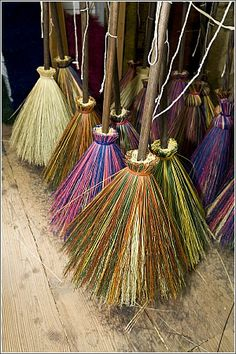 Witchcraft Terms and Tools - Besom P9 An upward pointed besom (bristles up), especially over or near a doorway, is also supposed to help protect the house from evil spirits or negative energies and, in the same way, a broom is sometimes laid at the opening of some covens' rossets. A broom was also traditionally placed under a bed or a pillow to protect the sleeper.