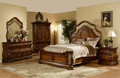 Mollai Collection 6PC Bedroom Set with Cherry Finish, Decorative Scrollwork, and Ornate Iron Works - Queen & King $2289.99
