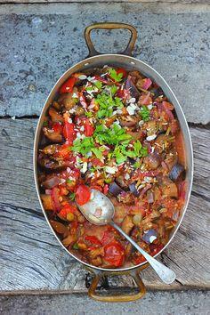 Sicilian Eggplant Caponata + Grilled Polenta Wedges ⎮ happy hearted kitchen