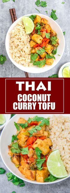 Thai coconut curry tofu is bursting with flavours of Thailand! You'll want to eat tofu like this every day!This Thai coconut curry tofu is bursting with flavours of Thailand! You'll want to eat tofu like this every day! Veggie Recipes, Indian Food Recipes, Asian Recipes, Cooking Recipes, Healthy Recipes, Vegetarian Recipes Tofu, Healthy Breakfasts, Curry Recipes, Thai Recipes