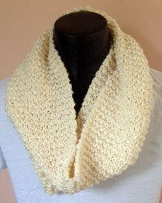 Knit cream infinity scarf