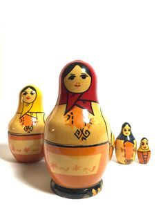 This is a lovely set of six nesting dolls from Yoscar Ola, Russia. Unique and rare shape and details in comparison to other types of Yoscar Ola nesting dolls. They are known for Asian-like features and simplistic details. All dolls are in good vintage condition, however the second and third doll do not close well onto the bottom.Yoscar Ola Babushka by BackInTimeBabushkas on Etsy