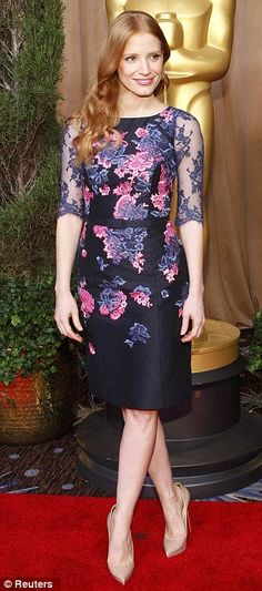 Jessica Chastain in Erdem Oscar Nominees Luncheon 2013