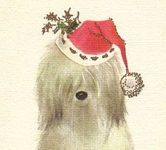 Merry Christmas Sheepdog 1950s Vintage Holiday by EphemeraObscura