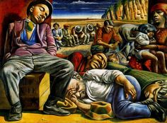 Tempera on burlap;    218 x 300 cm.   Delesio Antonio Berni was a figurative artist, born in Rosario, province of Santa Fe, Argentina. He worked as a painter, an illustrator and an engraver. His father, Napoleón Berni, was an immigrant tailor from Italy. His mother, Margarita Picco, was an Argentinian, daughter of Italians settled in Roldán, a nearby town.  In 1914, he became an apprentice in the Buxadera and Co. vitraux factory, receiving to Buenos Aires, which was attended even by…