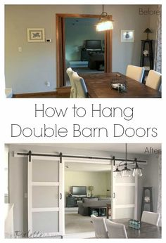 Double Barn Door In The House Basements Ideas - Modern Interior Barn Doors, Exterior Doors, Home Interior, Interior Design, Interior Paint, Interior Decorating, Decorating Ideas, Indoor Barn Doors, Hanging Barn Doors