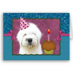 Celebrate your pooch's birthday with this adorable Old English Sheepdog birthday card. Art by Bella Katella, model is my furbaby :)