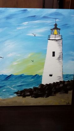 by Gail McCann with Wine and Canvas. Canvas Ideas, Canvas Art, Wine And Canvas, Painting Inspiration, Colouring, Lighthouse, Bee, Paintings, Create
