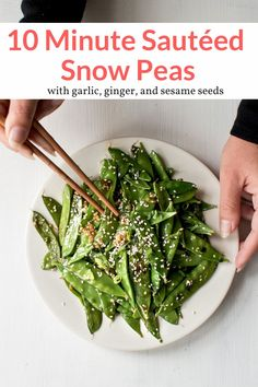 These 10 minute Sauteed Snow Peas will be your new favorite side dish with garlic, ginger, soy sauce, and sesame seeds. Quick, easy, healthy, and packed with flavor.  #sidedish #kidfriendly #quickandeasy Healthy Gluten Free Recipes, Quick Healthy Meals, Healthy Side Dishes, Whole 30 Recipes, Side Dish Recipes, Cook Smarts, Slender Kitchen, Fall Dishes, Snow Peas