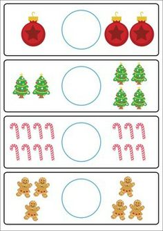 Math & Literacy Centers - Christmas {147 pages}. A page from the unit: Greater Than, Less Than, Equal To picture cards. Also includes cards with numbers only.