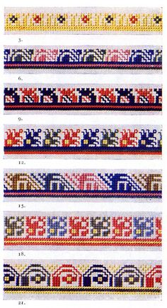 FolkCostume&Embroidery: Costume of Crna Gora, Црна Гора. Montenegro, The Black Mountain Cross Stitch Floss, Cross Stitch Heart, Cross Stitch Borders, Cross Stitching, Cross Stitch Patterns, Filet Crochet Charts, Knitting Charts, Knitting Patterns, Crochet Patterns