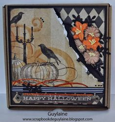 Boitatou on Halloween's theme created by Guylaine. Halloween Cards, Halloween Themes, Drawer, Vintage World Maps, Creations, Greeting Cards, Scrapbooking, Create, Box