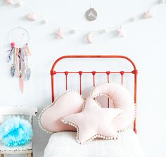 Set of light pink pillows with ecru pompoms. Star, cloud and moon pillow. Available with garland in the same color. Beautiful room decoration. For kids and adults.