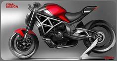 Ducati Monster Nini on Behance Bike Sketch, Car Sketch, Motorbike Design, Motorized Bicycle, Moto Bike, Ducati Monster, Concept Cars, Behance, Motorcycles