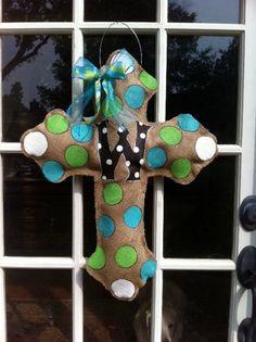 Cross Burlap Door Hanger