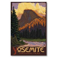 Shop Yosemite National Park - Half Dome Travel Poster Postcard created by LanternPress. Personalize it with photos & text or purchase as is! California National Parks, California Art, California Travel, Yosemite California, Vintage California, Retro Poster, Vintage Travel Posters, Vintage Postcards, Poster Poster