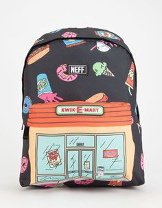 Neff – Graphic Tees, Beanies, Hats, Accessories and Other Apparel NEFF x The Simpsons Kwik-E-Mart Backpack Diy Backpack, Black Backpack, The Simpsons, Kwik E Mart, Cute Backpacks, Cute Bags, School Bags, Purses And Bags, Toddler Busy Bags