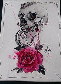 Projeto de uma tattoo que publiquei agora ha pouco ... Crânio, relógio e rosa !!! Nanquim, water color e caneta nanquim, sobre papel !