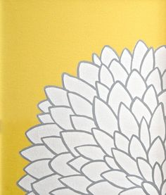 Yellow White Grey Flower Painting  - Original Art on Canvas. $32.00, via Etsy. would be easy to make for bedroom
