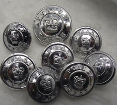 12 Large  Silver Tone Metal Shank Buttons Slight Dome  1in /& 7//8in