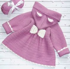 Items similar to Toddler girls warm winter hoodie coat with small bear ears on the hood. Baby girls fall wool cardigan Girl custom outfit Baby hoodie jacket on Etsy Baby Girl Cardigans, Baby Girl Jackets, Girls Sweaters, Baby Sweaters, Crochet Coat, Knitted Coat, Knitted Baby Clothes, Crochet Clothes, Baby Hoodie