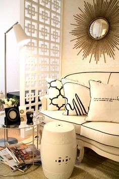 Gorgeous office with gold sunburst mirror, white French sofa with white cushions & black piping, white geometric pattern room dividers screens, white garden stool and floor lamp. Sofa Design, Interior Design, Interior Architecture, Style At Home, Living Spaces, Living Room, Modern Room, Home Fashion, Interior Inspiration