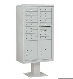 4C Pedestal Mailbox (Includes 13 Inch High Pedestal and Master Commercial Locks) - 15 Door High Unit (70-1/4 Inches) - Double Column - 16 MB1 Doors / 2 PL6 - Gray by Salsbury Industries. $1525.57. 4C Pedestal Mailbox (Includes 13 Inch High Pedestal and Master Commercial Locks) - 15 Door High Unit (70-1/4 Inches) - Double Column - 16 MB1 Doors / 2 PL6 - Gray - Salsbury Industries - 820996454782. Save 26% Off!