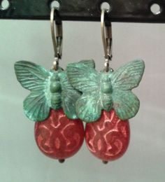 French Chic Red Teardrop Butterfly Earrings by MonnarinaShop