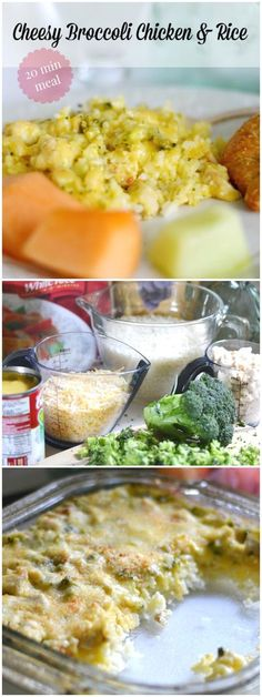 Super easy and quick Dinners are my fave and this Cheesy Broccoli Chicken and Rice casserole can be made in 20 min! Kids love this healthy meal too because I chop up broccoli so small they can't tell it's there! One of our family favorite recipes! #chicke Easy Meals For Kids, Frugal Meals, Quick Easy Meals, Kid Meals, Healthy Casserole Recipes, Delicious Recipes, Fast Recipes, Healthy Recipes, Dinner On A Budget