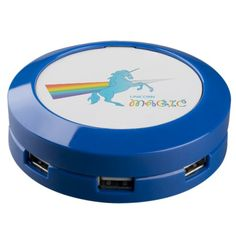 Cool magic Unicorn with bright rainbow. Fantasy. USB Charging Station
