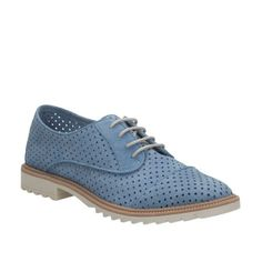 Griffin Maddy Mid Blue Nubuck - Oxfords & Lace-Ups for Women - Clarks