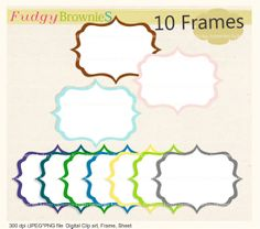 Digital frame, square frames clipart, white background frame, digital scrapbooking frames.A-44 , INSTANT DOWNLOAD