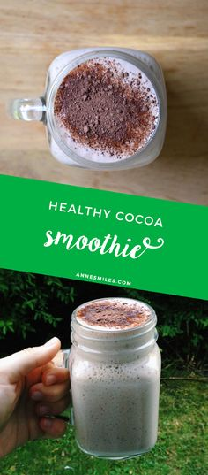 Delicious cocoa smoothie - perfect after a workout. Click through to see the… Healthy Smoothies, Healthy Drinks, Smoothie Recipes, Healthy Recipes, Breakfast Smoothies, Vegan Breakfast, Drink Recipes, Breakfast Ideas, Delicious Recipes