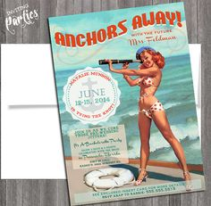 Beach Cruise Vintage sexy pin up Invitation Bachelorette party, Hens night, Lingerie Shower Birthday weekend Beach on Etsy, $15.99