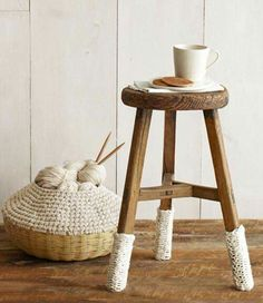 Stool and knitting basket