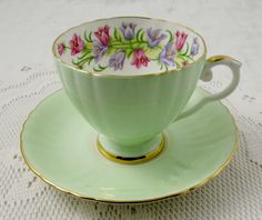 Royal Grafton Tea Cup and Saucer Pale Green with Purple and Pink Bell Flowers, English Bone China