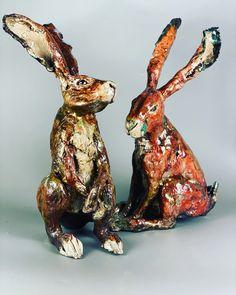 Raku fired ceramic Hares Mugs And Jugs, Pottery Handbuilding, Pottery Classes, Birthday Treats, Garden Ornaments, Horse Hair, Great View, Hare, Bunting