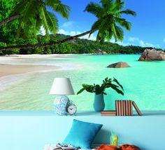 Tapet - Palmy Beach 345 x 270 cm Patio, Wallpaper, Beach, Outdoor Decor, Home Decor, Decoration Home, The Beach, Room Decor, Wallpapers
