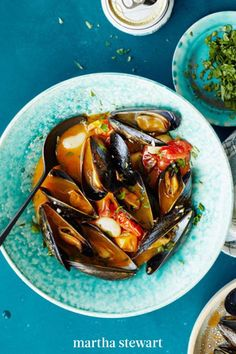 Travel to a Spanish coast via a bowlful of these chorizo-spiked steamed mussels, fragrant and filling in a garlicky wine broth. #marthastewart #recipes #recipeideas #seafoodrecipes #seafooddinners #seafood Fish Recipes, Seafood Recipes, Dinner Recipes, Seafood Stew, Fish And Seafood, Chicken Scarpariello, Beef Braciole, Steamed Mussels, New Years Eve Dinner