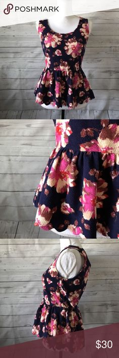 """Anthropologie Small Floral Sleeveless Shirt Anthropologie Postmark Navy Pink Floral Sleeveless Cutout Back Shirt Size S   Approximate Measurements    Armpit to armpit: 16.5""""    Length (from top of shoulder to bottom of shirt): 23"""" Anthropologie Tops Blouses"""