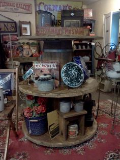 Large wooden spools for display shelves in my shop, Vintage Gal Antiques in Downieville, CA Antique Booth Displays, Antique Mall Booth, Craft Booth Displays, Vintage Display, Antique Stores, Display Ideas, Booth Ideas, Display Shelves, Shelving